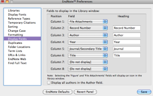 EndNote Display Fields